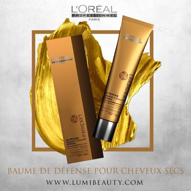 visuel pour lumibeauty produits l'oréal professionel baume de défense pour cheveux secs